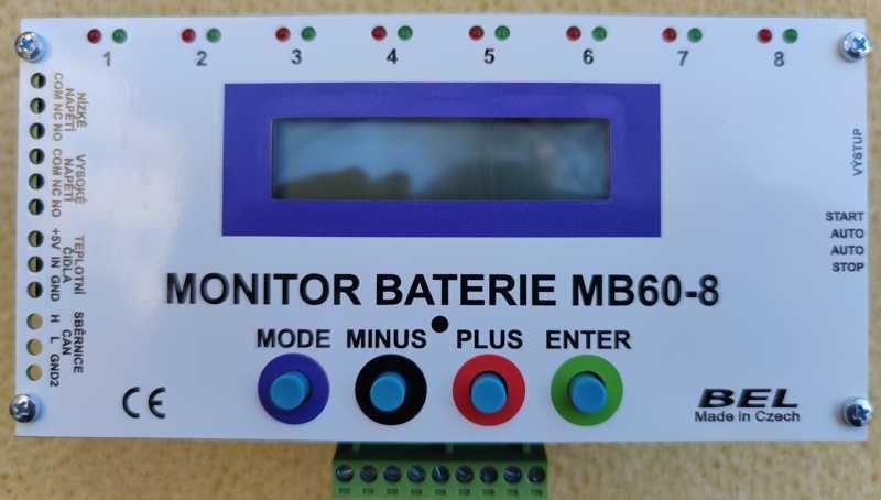 Monitor baterie MB60-8-6A čelní panel